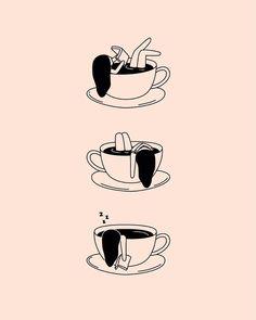 By Ariadna Aran Coffee illustration. By Ariadna Aran Coffee Illustration, Love Illustration, Elephant Illustration, Coffee Love, Coffee Art, Art Sketches, Art Drawings, Minimal Drawings, Mermaid Drawings