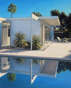 Midcentury modern Palm Springs oil painting by Danny Heller