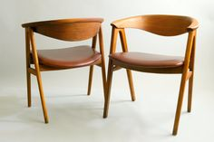 Set of Two Vintage Danish Modern Teak and Leather Chairs by Erik Kirkegaard for Dux -Stunning Extra Large Mid Century Teakwood Chairs $1,400