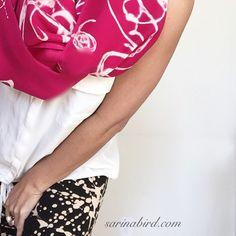 Bright pink scarf // black leggings