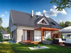 Dom jednorodzinny, parterowy z użytkowym poddaszem, z jednostanowiskowym garażem.