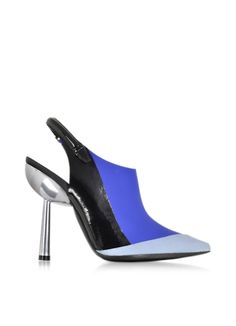 Kenzo Blue Rubber and Leather Slingback Pump