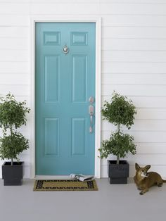 Under The Table and Dreaming: 55 Different Front Door Inspiration Ideas {in just about every paint color possible} Pretty Blue - an option...