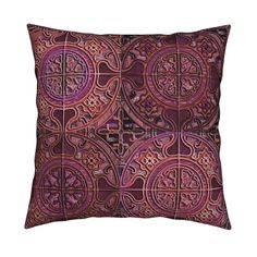 Catalan Throw Pillow featuring MANDALA TILES CHECK PINK GOLD COOPER BURGUNDY by paysmage | Roostery Home Decor