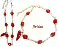 Silver anklet, red coral anklet, adjustable anklet,beaded anklet,ankle chain,ankle bracelet,ankle string,silver ankle chain,coral anklet by CapricesDeParisienne on Etsy