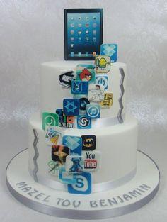 iPad, iPhone, Apps, App World Birthday / Bar Mitzvah Cake Cake by FancyCakesbyLinda