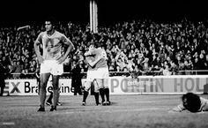 Manchester United striker Stuart Pearson (9) is hugged by Gordon Hill after scoring their second goal during the European Cup Winners Cup 1st round 2nd leg match played at Home Park in Plymouth. This match was played at a neutral venue after crowd trouble during the first leg in France had initially caused UEFA to expel Manchester United from the competition. However on appeal they changed this ruling and ordered the match to be played a minimum of 300km from Old Trafford. Manchester United…