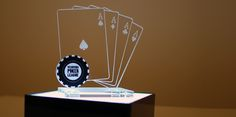 Poker trophy and lighted base - designed and made @ Atelier 13 - laser cut and engraved acrylic