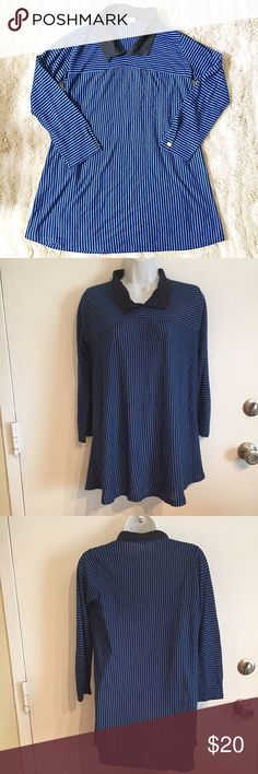 Vintage Striped Collared Tunic True vintage. Blue and black striped long sleeve Tunic with collar. Size medium.  #vintage #truevintage #striped #collared #tunic #medium #punkydoodle  No modeling Smoke and pet free home  I do discount bundles Vintage Tops Tunics