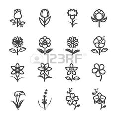 Flower Icons for Pattern with White Background - Fart class - Flower Icons for Pattern with White Background Stock Vector - Body Art Tattoos, Tattoo Drawings, Art Drawings, Small Icons, Tattoo Lettering Fonts, Doodle Art Journals, Photo Images, Flower Coloring Pages, Flower Doodles
