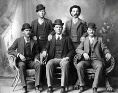 The Wild Bunch c. 1885: Harry Langbaugh (The Sundance Kid), William Carver, Ben Kilpatrick, Harvey Logan and Butch Cassidy Parker.