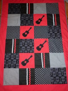 GUITAR Baby Boy CRIB QUILT Set Quilt Ready to by AlphabetMonkey, $185.00