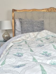 Green Eucalyptus with Jaal Hand Block Printed Blanket Elephant Quilt, Blue Blanket, Cotton Quilts, Soft Furnishings, Bed Spreads, Interior Decorating, Printed, Green, Home Decor