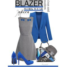 Gray & Blue by ragnh-mjos on Polyvore featuring H&M, Fendi, Kenneth Cole, River Island, outfit, fashionset, crazyforfashion and workblazer
