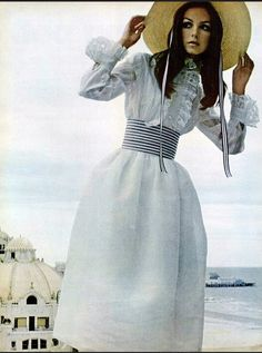 1968 Romantic organdy dress by Adolfo who also made the hat and sash, photo by Richard Davis, balcony of the Shelburne Hotel in Atlantic City