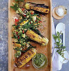 Braaied corn salad with basil pesto dressing Braai Salads, Pesto Dressing, Vegetarian Recipes, Delicious Recipes, Tasty, Corn Salads, Basil Pesto, Home Food, Salad Ingredients