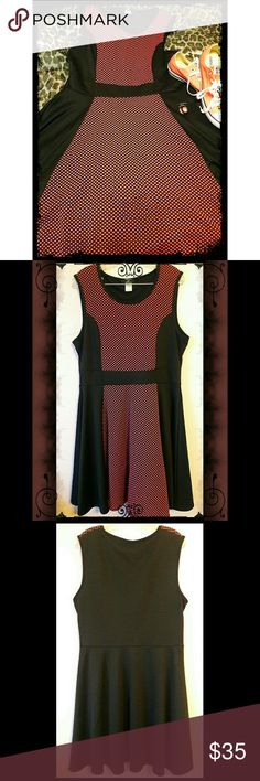 👉🆕BLACK & CORAL MESH SKATER DRESS 🔥👗 BNWOT - Black and coral mesh skater sress. Coral front with black mesh overlay. Black side panels create a slimming effect. Dress is fitted and very flattering. Can be dressed up, or down, as shown. Dynamite Dresses
