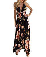 verf/ügbaren Angebote,kleider Ronamick Frauen Chiffon Blumen druck Sleeveless Backless beil/äufige Boho Strand lange Maxi kleid