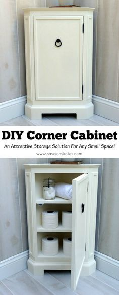 Looking for storage ideas? Build this small DIY corner cabinet! It's great for the bathroom or anywhere you need a little extra storage. It was inspired by a catalog retailer and it's loaded with mold (Diy Muebles Pintados) Small Corner Cabinet, Corner Storage, Crate Storage, Kids Storage, Storage Ideas, Extra Storage, Corner Bathroom Storage, Storage Solutions, Small Storage Cabinet