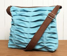 Tote Bag Sling Purse Cross Body in Sky Blue- this designer will also custom make a bag in colors you want!