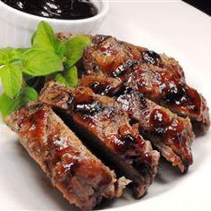Glazed Pork Chops 6 pork loin or rib chops, 3/4-inch thick  1 cup SMUCKER'S® Blackberry Jam  3/4 cup ketchup  1/4 cup steak sauce  1 teaspoon dry mustard  1 clove garlic, minced