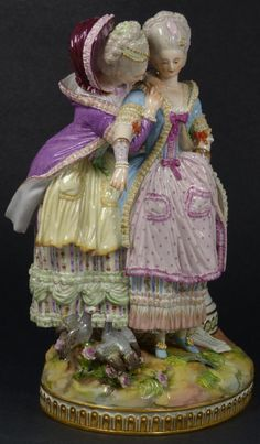 MEISSEN PORCELAIN FIGURE OF 2 WOMEN w LETTER - EliteAuction.com