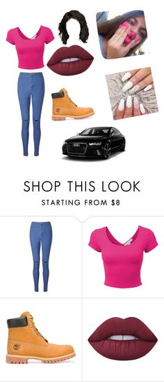 """💯💯💯"" by moore-kamaiya on Polyvore featuring Miss Selfridge, LE3NO, Timberland and Lime Crime"