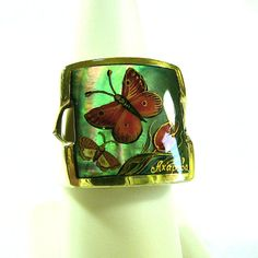Original HAND PAINTED Butterfly Cameo Ring - Sterling Silver - Painted on Mother Of Pearl Artist Signed Collectible Animal Art Cameo Jewelry