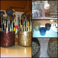 DIY makeup brush holders so cute!! Just did this and I love it!!!