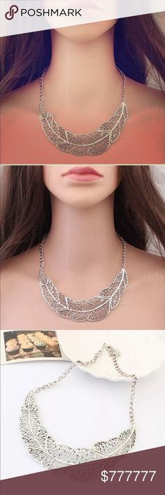 ❤️Coming Soon!❤️Silver leaf Open Bib Necklace Materials: Silver plated alloy metals. Jessie's Accessories Jewelry Necklaces