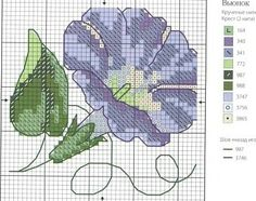Flower cross stitch pattern and color chart.