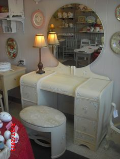 vintage art deco vanity with waterfall front. Please see our vintage shabby chic unfinished furniture board for available pieces. These are pictures of past projects and are not available