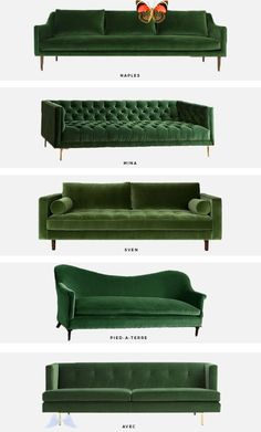 trend alert: the green velvet sofa - Mint Modern Home trend alert: the green velvet sofa | Mint Modern Home #moderncouches<br> I'll be the first to tell you that I usually dismiss trendy furniture. I myself choose neutral couches and I encourage my clients to do the same. It's so much easier (and far less expensive!) to change a few throw … Patio Loveseat, Couch And Loveseat, Couches, White Loveseat, Sectional Sofas, Sofa Bed, Diy Furniture Couch, Trendy Furniture, Coaster Furniture
