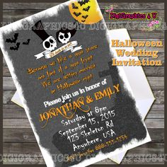 New to DigiGraphics4u on Etsy: Personalized Halloween Wedding Invitation Printable Digital File (12.00 USD)