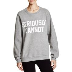Private Party Seriously Cannot Graphic Sweatshirt (115 SGD) ❤ liked on Polyvore featuring tops, hoodies, sweatshirts, heather grey, graphic sweatshirts, night out tops, heather grey sweatshirt, graphic tops and party tops