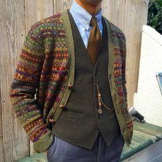 Fair Isle Cardigan ~ Inspiration for patterning Mens Fashion Sweaters, Men Sweater, Latest Mens Wear, Country Attire, Fair Isle Knitting, Sharp Dressed Man, Dandy, Cardigans For Women, Pulls