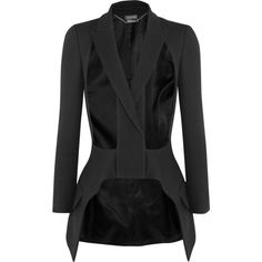 Alexander McQueen Cutout wool and silk-blend blazer ($2,250) ❤ liked on Polyvore featuring outerwear, jackets, blazers, wool blazer, woolen jacket, alexander mcqueen blazer, tailored blazer and alexander mcqueen jacket
