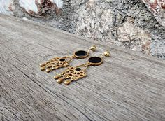 Items similar to Black and Gold Chandelier Earrings Gold Chandelier Earrings, Boho Earrings, Earrings Handmade, Stud Earrings, Black Enamel, Unique Colors, Updo, Selena, Im Not Perfect