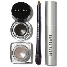 Bobbi Brown Long-Wear Limited Edition Eye Set found on Polyvore featuring beauty products, makeup, eye makeup, apparel & accessories, gel eyeliner, long wear gel eyeliner, bobbi brown cosmetics, travel makeup and mini makeup