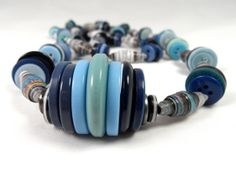 Necklace - Button / Paper Bead Blue Things, Paper Beads, Necklaces, Button, Collar Necklace, Wedding Necklaces, Buttons, Knot