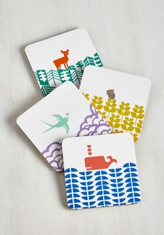 Earth the Wait Coaster Set. After searching the sea and sky for decor as charming as this colorful coaster set, youve found it at long last! #multi #modcloth