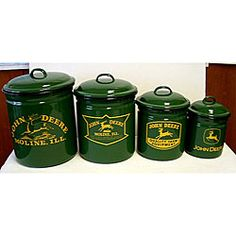 @Overstock - Show your brand loyalty even in the kitchen with a John Deere canister set Enamelware set includes four kitchen canisters with lids Kitchen storage canisters are green with the John Deere logo in yellowhttp://www.overstock.com/Home-Garden/John-Deere-4-piece-Canister-Set/3967567/product.html?CID=214117 $49.99