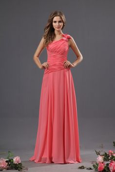 one shoulder coral bridesmaid dresses