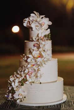 Beautiful White Wedding Cake with Tropical Flower Details [Coordinated by Moana Events]