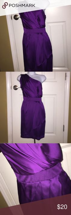 Women's BCBG dress Super cute and fun dress wore to a wedding. Shiny and one shoulder. Great condition BCBG Dresses One Shoulder
