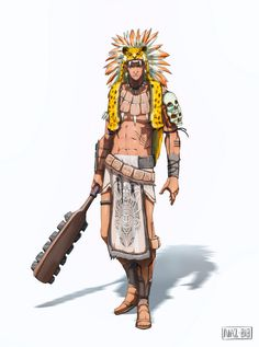 art mexicano Mexican warrior by Namh Fantasy Character Design, Character Design Inspiration, Character Concept, Character Art, Concept Art, Dnd Characters, Fantasy Characters, Fantasy Warrior, Fantasy Art