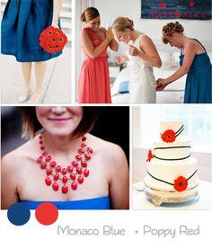 Colores primavera boda 2013 pantone rojo  y azul marino