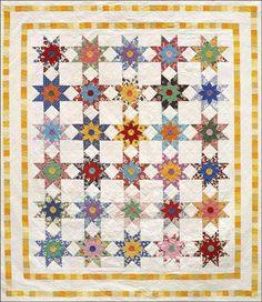 Star Flowers Quilt Pattern JWD-0108 (advanced beginner, baby, twin, queen)