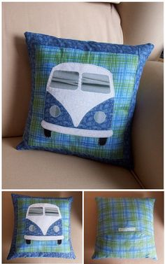 VW Bus quilt in think yes Applique Patterns, Quilt Patterns, Quilting Projects, Sewing Projects, Fabric Crafts, Sewing Crafts, Sewing Aprons, Cute Pillows, Vw Bus
