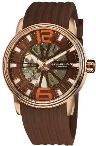 Stuhrling Original Men's 1078.3346K59 Classic Delphi Achilles Automatic Skeleton Brown Watch Stuhrling Original. $69.99. Brown silicon rubber strap with stainless steel buckle. Brown matt skeletonized dial with orange Arabic numerals at the 12 and 6 position. Protective Krysterna crystal on front and back. Water-resistant to 165 feet (50 M). Round shaped rose gold layered stainless steel case with triple step design bezel. Save 84% Off!